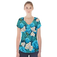 Light Blue Roses And Daisys Short Sleeve Front Detail Top