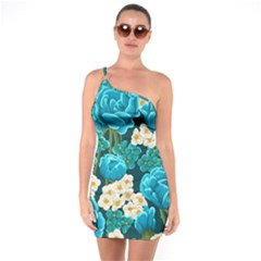 Light Blue Roses And Daisys One Soulder Bodycon Dress