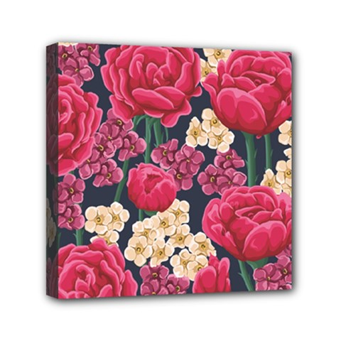 Pink Roses And Daisies Mini Canvas 6  X 6