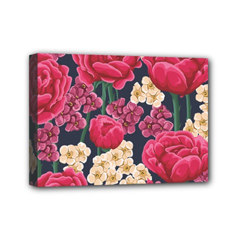 Pink Roses And Daisies Mini Canvas 7  X 5