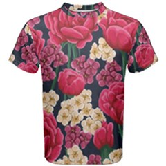 Pink Roses And Daisies Men s Cotton Tee