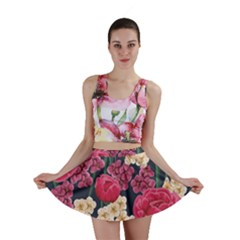 Pink Roses And Daisies Mini Skirt