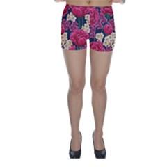 Pink Roses And Daisies Skinny Shorts