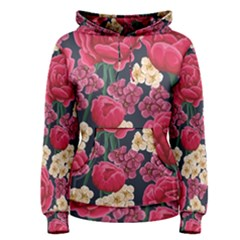 Pink Roses And Daisies Women s Pullover Hoodie
