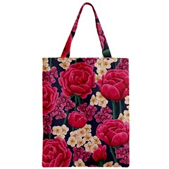 Pink Roses And Daisies Zipper Classic Tote Bag