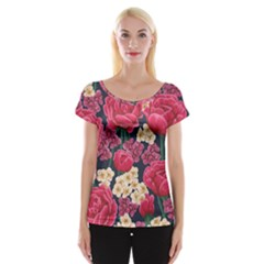 Pink Roses And Daisies Cap Sleeve Tops