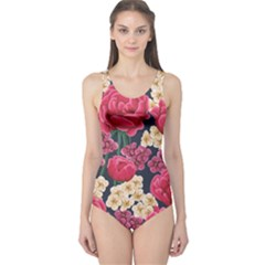 Pink Roses And Daisies One Piece Swimsuit