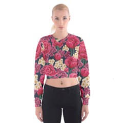 Pink Roses And Daisies Cropped Sweatshirt