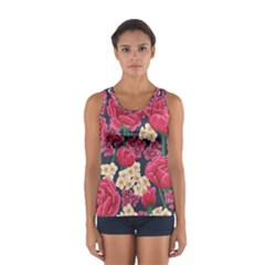Pink Roses And Daisies Sport Tank Top