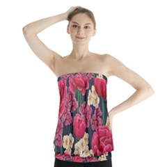Pink Roses And Daisies Strapless Top