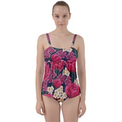 Pink Roses And Daisies Twist Front Tankini Set
