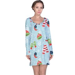 Winter Fun Pattern Long Sleeve Nightdress