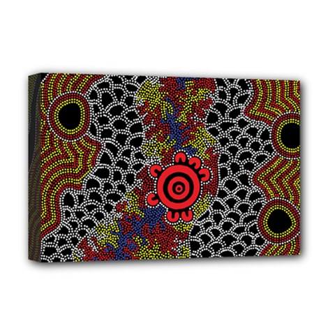 Aboriginal Art   Campsite Deluxe Canvas 18  X 12