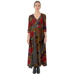 Aboriginal Art   Waterholes Button Up Boho Maxi Dress