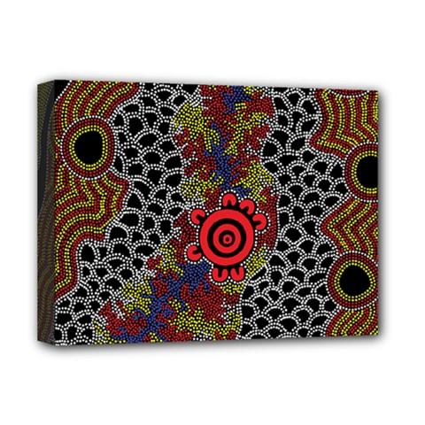 Aboriginal Art   Meeting Places Deluxe Canvas 16  X 12