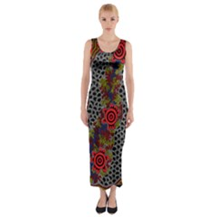 Aboriginal Art   Meeting Places Fitted Maxi Dress