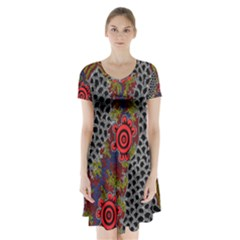 Aboriginal Art   Meeting Places Short Sleeve V Neck Flare Dress
