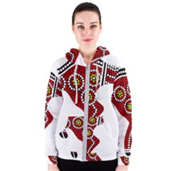 Aboriginal Art   Turtle Women s Zipper Hoodie