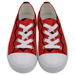 Red Box Pattern Kids  Low Top Canvas Sneakers