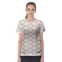 Art Deco,japanese Fan Pattern, Gold,white,vintage,chic,elegant,beautiful,shell Pattern, Modern,trendy Women s Sport Mesh Tee