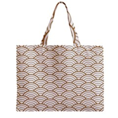 Art Deco,japanese Fan Pattern, Gold,white,vintage,chic,elegant,beautiful,shell Pattern, Modern,trendy Zipper Mini Tote Bag