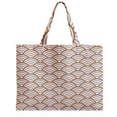 Art Deco,japanese Fan Pattern, Gold,white,vintage,chic,elegant,beautiful,shell Pattern, Modern,trendy Zipper Medium Tote Bag