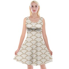 Art Deco,japanese Fan Pattern, Gold,white,vintage,chic,elegant,beautiful,shell Pattern, Modern,trendy Reversible Velvet Sleeveless Dress