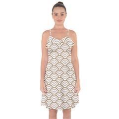 Art Deco,japanese Fan Pattern, Gold,white,vintage,chic,elegant,beautiful,shell Pattern, Modern,trendy Ruffle Detail Chiffon Dress