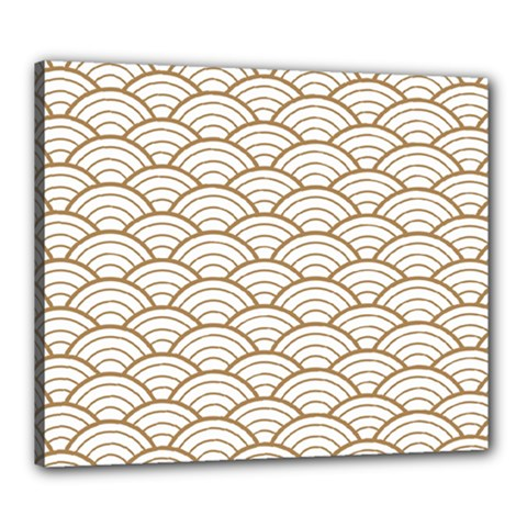 Art Deco,japanese Fan Pattern, Gold,white,vintage,chic,elegant,beautiful,shell Pattern, Modern,trendy Canvas 24  X 20