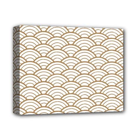 Art Deco,japanese Fan Pattern, Gold,white,vintage,chic,elegant,beautiful,shell Pattern, Modern,trendy Deluxe Canvas 14  X 11