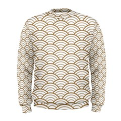 Art Deco,japanese Fan Pattern, Gold,white,vintage,chic,elegant,beautiful,shell Pattern, Modern,trendy Men s Sweatshirt