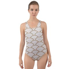 Art Deco,japanese Fan Pattern, Gold,white,vintage,chic,elegant,beautiful,shell Pattern, Modern,trendy Cut Out Back One Piece Swimsuit