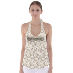 Art Deco,japanese Fan Pattern, Gold,white,vintage,chic,elegant,beautiful,shell Pattern, Modern,trendy Babydoll Tankini Top