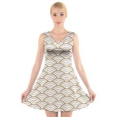 Art Deco,japanese Fan Pattern, Gold,white,vintage,chic,elegant,beautiful,shell Pattern, Modern,trendy V Neck Sleeveless Skater Dress