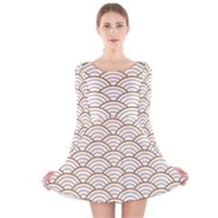 Art Deco,japanese Fan Pattern, Gold,white,vintage,chic,elegant,beautiful,shell Pattern, Modern,trendy Long Sleeve Velvet Skater Dress