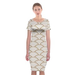 Art Deco,japanese Fan Pattern, Gold,white,vintage,chic,elegant,beautiful,shell Pattern, Modern,trendy Classic Short Sleeve Midi Dress