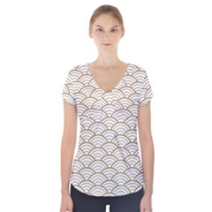 Art Deco,japanese Fan Pattern, Gold,white,vintage,chic,elegant,beautiful,shell Pattern, Modern,trendy Short Sleeve Front Detail Top