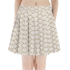 Art Deco,japanese Fan Pattern, Gold,white,vintage,chic,elegant,beautiful,shell Pattern, Modern,trendy Pleated Mini Skirt