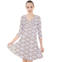 Art Deco,japanese Fan Pattern, Gold,white,vintage,chic,elegant,beautiful,shell Pattern, Modern,trendy Quarter Sleeve Front Wrap Dress