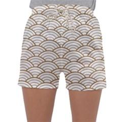 Art Deco,japanese Fan Pattern, Gold,white,vintage,chic,elegant,beautiful,shell Pattern, Modern,trendy Sleepwear Shorts