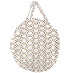 Art Deco,japanese Fan Pattern, Gold,white,vintage,chic,elegant,beautiful,shell Pattern, Modern,trendy Giant Round Zipper Tote