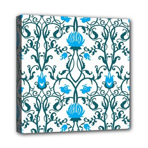 Art Nouveau, Art Deco, Floral,vintage,blue,green,white,beautiful,elegant,chic,modern,trendy,belle ¨|poque Mini Canvas 8  X 8