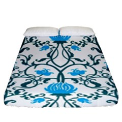 Art Nouveau, Art Deco, Floral,vintage,blue,green,white,beautiful,elegant,chic,modern,trendy,belle ¨|poque Fitted Sheet (king Size)