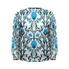 Art Nouveau, Art Deco, Floral,vintage,blue,green,white,beautiful,elegant,chic,modern,trendy,belle ¨|poque Women s Sweatshirt