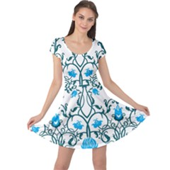 Art Nouveau, Art Deco, Floral,vintage,blue,green,white,beautiful,elegant,chic,modern,trendy,belle ¨ poque Cap Sleeve Dress