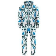 Art Nouveau, Art Deco, Floral,vintage,blue,green,white,beautiful,elegant,chic,modern,trendy,belle ¨|poque Hooded Jumpsuit (men)