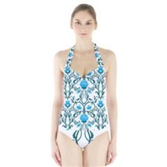 Art Nouveau, Art Deco, Floral,vintage,blue,green,white,beautiful,elegant,chic,modern,trendy,belle ¨ poque Halter Swimsuit