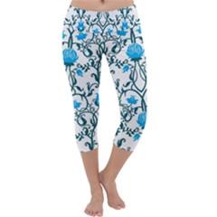 Art Nouveau, Art Deco, Floral,vintage,blue,green,white,beautiful,elegant,chic,modern,trendy,belle ¨|poque Capri Yoga Leggings