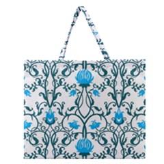 Art Nouveau, Art Deco, Floral,vintage,blue,green,white,beautiful,elegant,chic,modern,trendy,belle ¨|poque Zipper Large Tote Bag