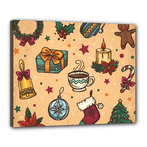 Cute Vintage Christmas Pattern Canvas 20  X 16